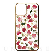 【iPhone11 Pro Max ケース】Pressed flower case (Rose red petals_Gold)
