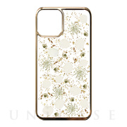 【iPhone11 Pro Max ケース】Pressed flower case (White petals_Gold)