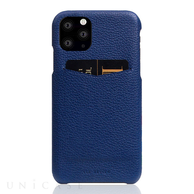 【iPhone11 Pro ケース】Full Grain Leather Back Case (Navy Blue)
