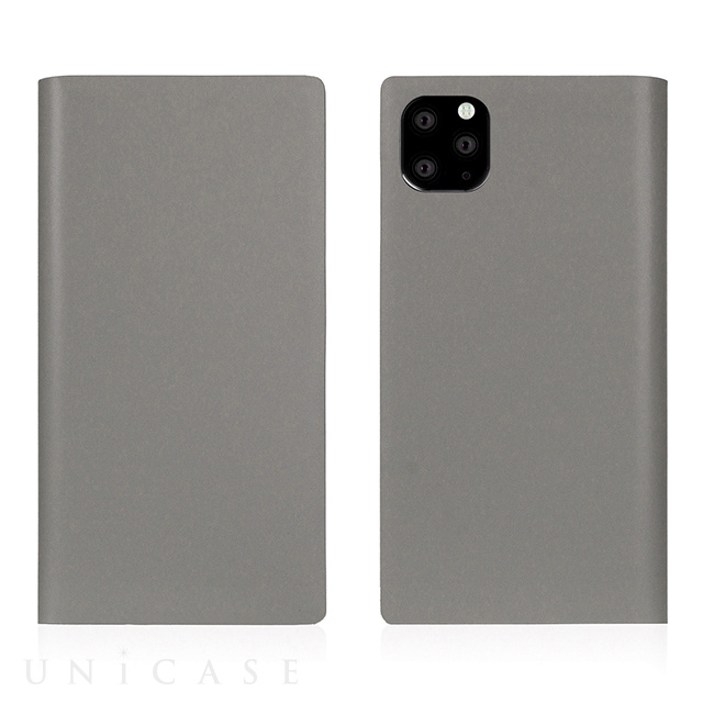 【iPhone11 Pro ケース】Calf Skin Leather Diary (Gray)