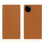【iPhone11 Pro ケース】Calf Skin Leather Diary (Camel)