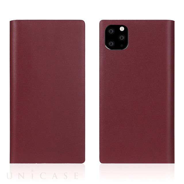【iPhone11 Pro ケース】Calf Skin Leather Diary (Burgundy)