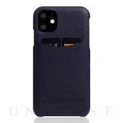 【iPhone11 ケース】Full Grain Leather Back Case (Black Blue)