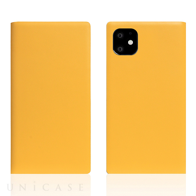 【iPhone11 ケース】Calf Skin Leather Diary (Yellow)