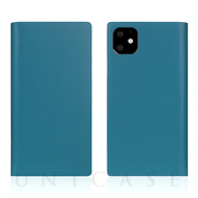 【iPhone11 ケース】Calf Skin Leather Diary (Blue)