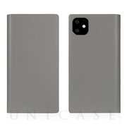 【iPhone11 ケース】Calf Skin Leather Diary (Gray)