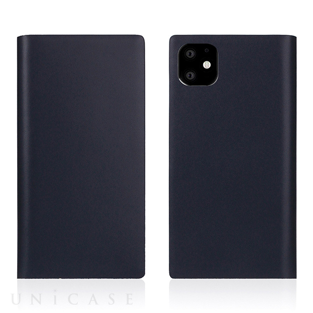 【iPhone11 ケース】Calf Skin Leather Diary (Navy)