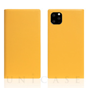 【iPhone11 Pro Max ケース】Calf Skin Leather Diary (Yellow)