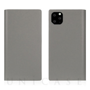 【iPhone11 Pro Max ケース】Calf Skin Leather Diary (Gray)