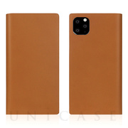 【iPhone11 Pro Max ケース】Calf Skin Leather Diary (Camel)