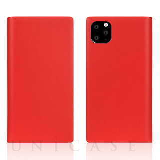 【iPhone11 Pro Max ケース】Calf Skin Leather Diary (Red)