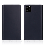 【iPhone11 Pro Max ケース】Calf Skin Leather Diary (Navy)