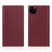 【iPhone11 Pro Max ケース】Calf Skin Leather Diary (Burgundy)