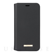 "【iPhoneXS/X ケース】""Shrink"" PU Leather Book Case (Black)"