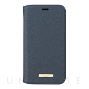 "【iPhoneXS/X ケース】""Shrink"" PU Leather Book Case (Navy)"