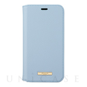 "【iPhoneXS/X ケース】""Shrink"" PU Leather Book Case (Light Blue)"