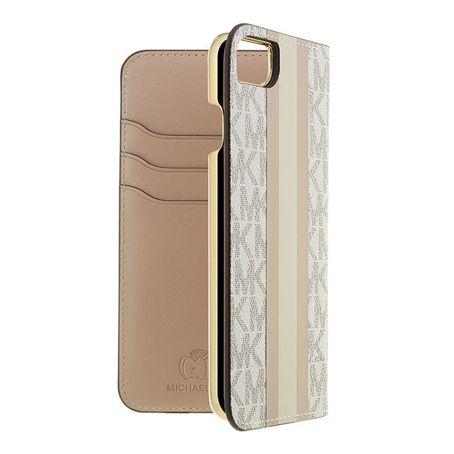 【iPhone8/7 ケース】Folio Case Beige Pink Stripe with Charmサブ画像