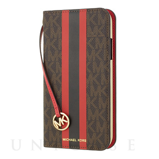 【iPhoneSE(第2世代)/8/7 ケース】Folio Case Red Stripe with Charm