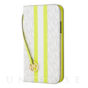 【iPhoneSE(第2世代)/8/7 ケース】Folio Case Lime Stripe with Charm
