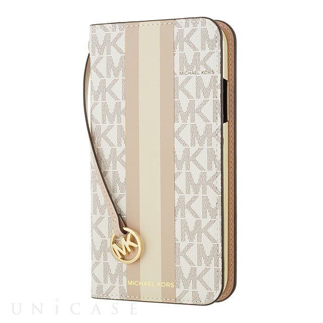 【iPhone8/7 ケース】Folio Case Beige Pink Stripe with Charm