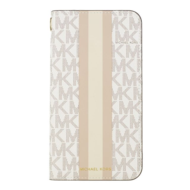 【iPhone11 Pro Max ケース】Folio Case Beige Pink Stripe with Charmサブ画像