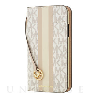 MICHAEL KORS(マイケルコース)【iPhoneXR ケース】Folio Case Beige Pink Stripe with Charm