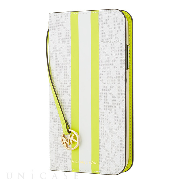 【iPhone11 Pro ケース】Folio Case Lime Stripe with Charm