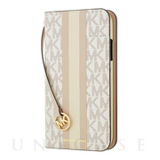 【iPhone11 ケース】Folio Case Beige Pink Stripe with Charm