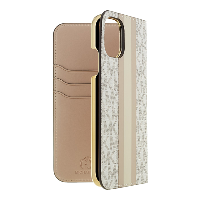 【iPhone11/XR ケース】Folio Case Beige Pink Stripe with Charmサブ画像