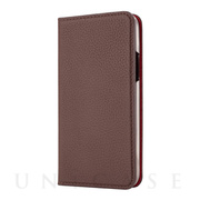 【iPhone11 Pro Max ケース】German Shrunken Calf Folio Case (Dark Brown×Red)