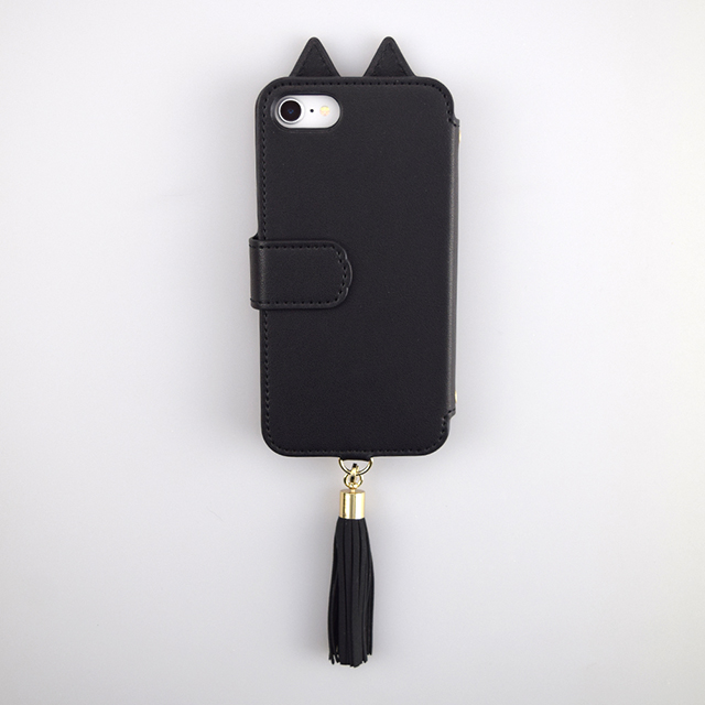 【iPhoneSE(第2世代)/8/7 ケース】Tassel Tail Cat Flip Case for iPhoneSE(第2世代) (black)