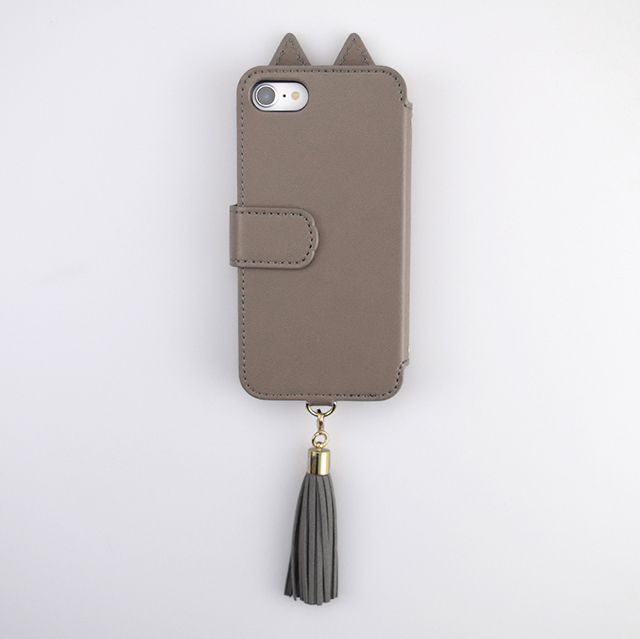 【iPhoneSE(第2世代)/8/7 ケース】Tassel Tail Cat Flip Case for iPhoneSE(第2世代) (gray)サブ画像