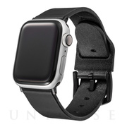 【AppleWatch SE/Series6/5/4/3/2/1(44/42mm) バンド】Italian Genuine Leather Watchband (Black)