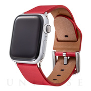 【AppleWatch Series5/4/3(44/42mm) バンド】Italian Genuine Leather Watchband (Red)
