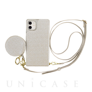 【iPhone11/XR ケース】Cross Body Case Glitter Series for iPhone11 (pearl silver)