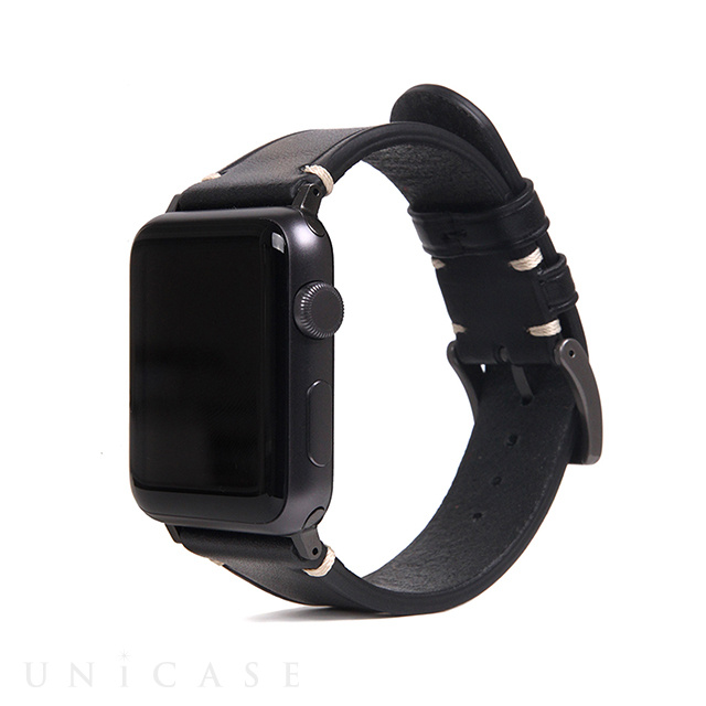 【AppleWatch Series5/4/3/2/1(44/42mm) バンド】Italian Buttero Leather (ブラック)