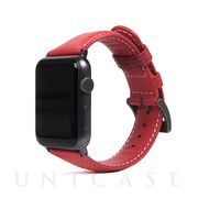 【AppleWatch Series5/4/3/2/1(44/42mm) バンド】Italian Minerva Box Leather (レッド)