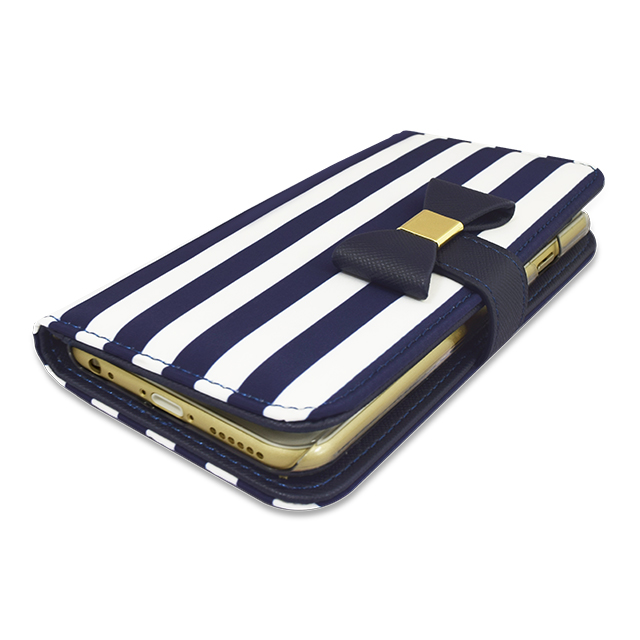 【アウトレット】【iPhone6s/6 ケース】Ribbon Diary Stripe Navy for iPhone6s/6サブ画像