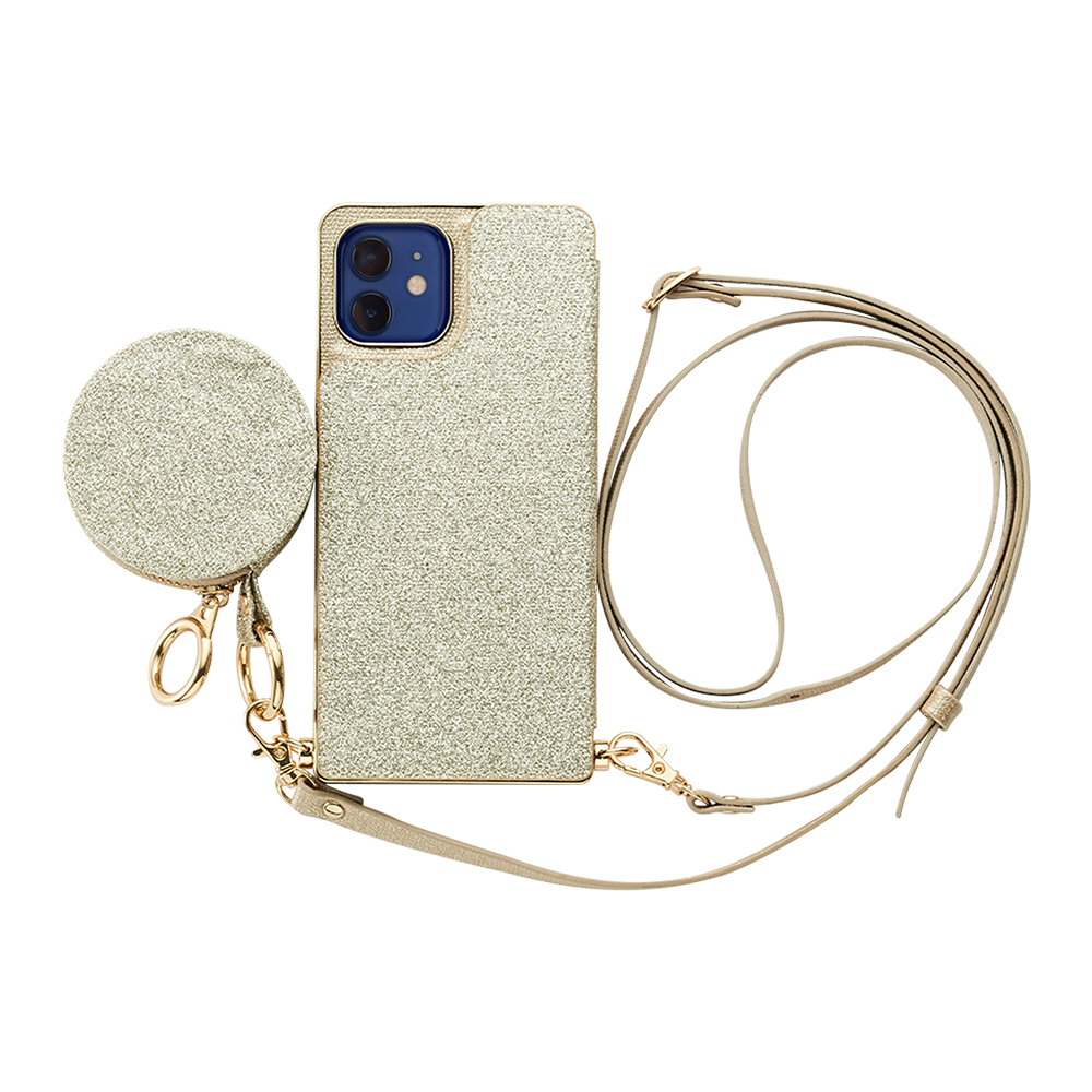 【iPhone12/12 Pro ケース】Cross Body Case Glitter Series for iPhone12/12 Pro (prism gold)サブ画像