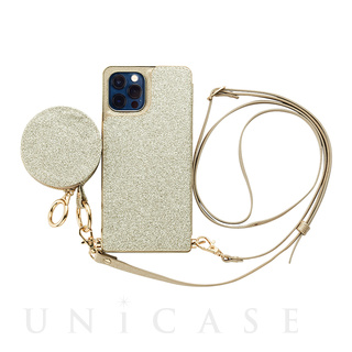 【iPhone12/12 Pro ケース】Cross Body Case Glitter Series for iPhone12/12 Pro (prism gold)