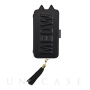 【iPhone12/12 Pro ケース】Tassel Tail Cat Flip Case for iPhone12/12 Pro (black)