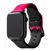 "【AppleWatch Series5/4/3(44/42mm) バンド】""NEON"" Italian Genuine Leather Watchband (Neon Pink/Black)"