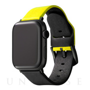 "【AppleWatch Series5/4/3(40/38mm) バンド】""NEON"" Italian Genuine Leather Watchband (Neon Yellow/Black)"