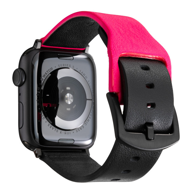 "【AppleWatch Series5/4/3(40/38mm) バンド】""NEON"" Italian Genuine Leather Watchband (Neon Pink/Black)"