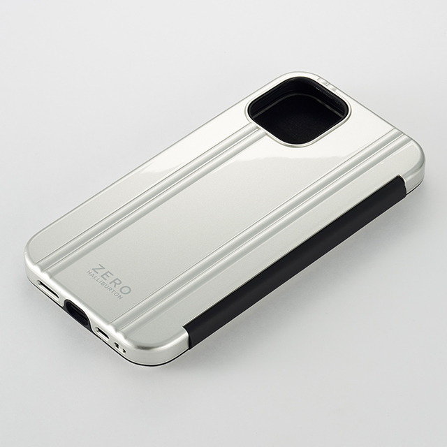 【iPhone12 mini ケース】ZERO HALLIBURTON Hybrid Shockproof Flip Case for iPhone12 mini (Silver)サブ画像