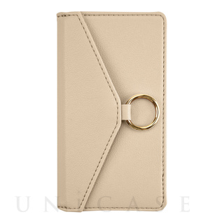 【iPhone12 mini ケース】Letter Ring Flipcase for iPhone12 mini (beige)