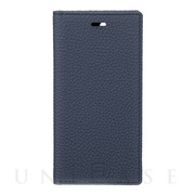 【iPhone12 mini ケース】Shrunken-Calf Leather Book Case (Navy)