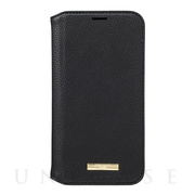 "【iPhone12/12 Pro ケース】""Shrink"" PU Leather Book Case (Black)"