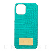 【iPhone12/12 Pro ケース】Croco Embossed PU Leather Shell Case (Turquoise)