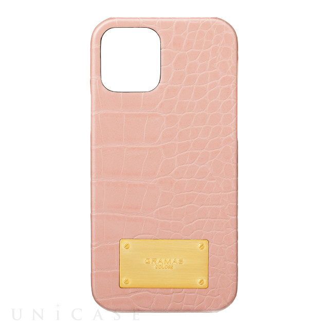 【iPhone12/12 Pro ケース】Croco Embossed PU Leather Shell Case (Beige Pink)